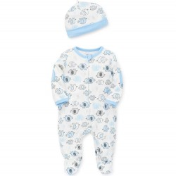 Infant Boy 2 pc Footed Sleeper with Hat - Blue Elephant