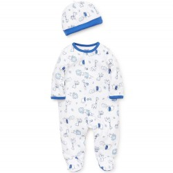 Infant Boy 2 pc Footed Sleeper with Hat - Blue and White Safari
