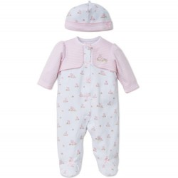 Infant Girl 2 pc Footed Sleeper with Hat - Pink Bunnies