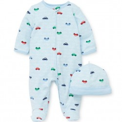 Infant Boy 2 pc Footed Sleeper with Hat - Colorful Cars