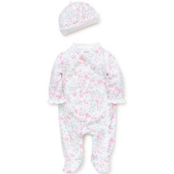 Infant Girl 2 pc Footed Sleeper with Hat - Watercolor
