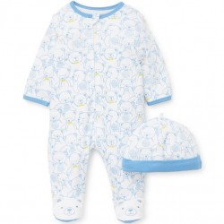 Infant Boy 2 pc Footed Sleeper with Hat - Teddy Bear