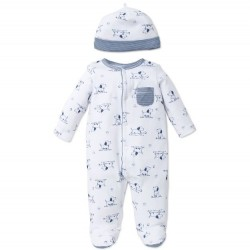 Infant Boy One Piece Footed Sleeper with Hat - Puppy Toile