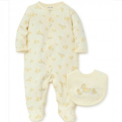 Infant Unisex One Piece Footed Sleeper with Matching Bib - Yellow Duck