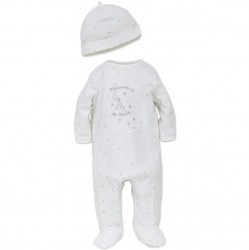 Infant Unisex One Piece Footed Sleeper with Hat - Welcome to the World