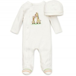 Infant Unisex One Piece Footed Sleeper with Hat - Cream Giraffe