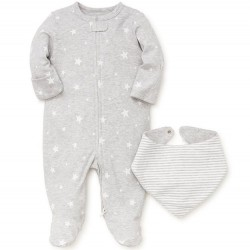 Infant Unisex One Piece Footed Sleeper with Bib - Grey Star
