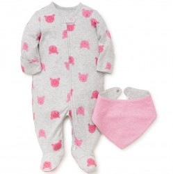 Infant Girl 2 pc Footed Sleeper with Hat Set - Pink Teddy Bear