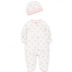 Infant Girl 2 pc Footed Sleeper with Hat Set - Pink Safari