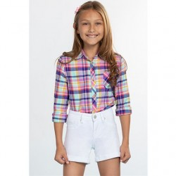 7 to 14 Girls Twill Short with Rolled Cuff - White