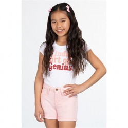 7 to 14 Girls Twill Short with Rolled Cuff - Pink