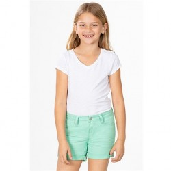 7 to 14 Girls Twill Short with Rolled Cuff - Mint