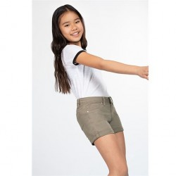 7 to 14 Girls Twill Short with Rolled Cuff - Moss