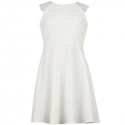 7 to 14 Girls Sleeveless Solid Dress with Lace Shoulder Off White