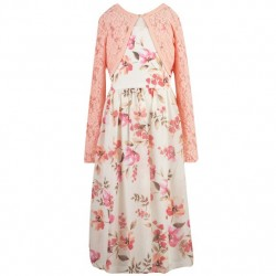 7 to 14 Girls 2pc Cream, Rose Floral Dress with Lace Bolero