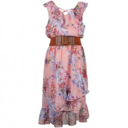 7 to 14 Girls Coral Peach Floral Dress with Diagonal Front and Belt