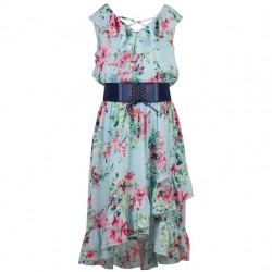 7 to 14 Girls Blue Floral Dress with Diagonal Front and Belt