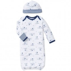 Infant Boy 2 pc Sleeper Gown with Hat Set - Puppy Toile