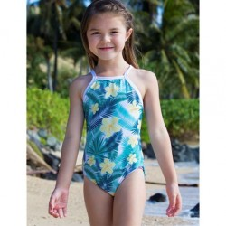 7 to 14 Girls One Piece Crossback Swimsuit