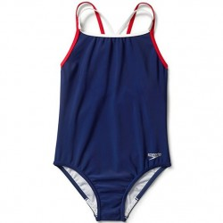 7 to 14 Girls Navy Red Crossback One Piece Swimsuit