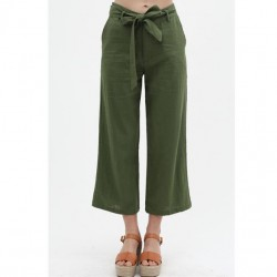 Relaxed Fit Slightly Cropped Linen Blend Pants with Tie Front - Olive