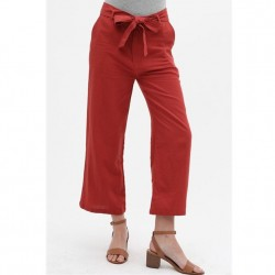 Relaxed Fit Slightly Cropped Linen Blend Pants with Tie Front - Rust
