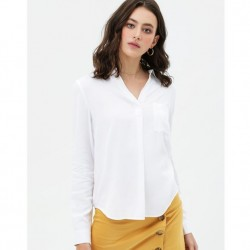 Solid V-Neck Tunic Top with Chest Pocket and Adjustable Button Sleeves - White