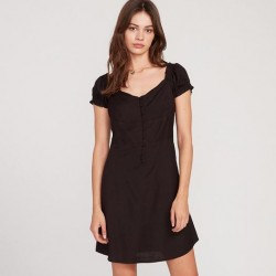Volcom Window Cactus Cap Sleeve Sweetheart Neck Dress with Partial Button Placket - Black