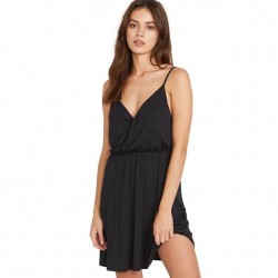 Volcom Not My Luv Soft Knit Wrap Dress with Adjustable Straps - Black