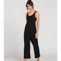 Volcom Lil Romper Solid Ribbed Sleeveless Wide Crop Leg Jumpsuit with Low Back - Black