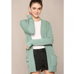 Cozy Long Sleeve Open Cardigan with Pockets and Ribbed Cuffs - Aqua