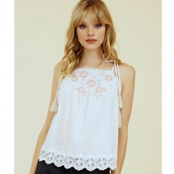 Solid High Neck Tank Sleeveless Tank with Floral Embroidered Neckline and Lace Hem - Tan