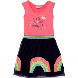 4 to 6X Girls Dress - Sleeveless Life is All About Rainbows