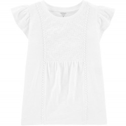 4 to 6X Girls Carters White Crocheted Eyelet Slub Jersey Tee