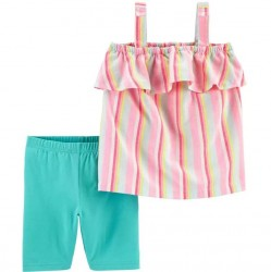 4 to 6X Girls Carters 2-Piece Striped Tank and Short Set