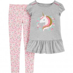 4 to 6X Girls Carters 2 PC Unicorn Top and Legging Set