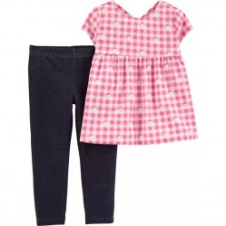 Toddler Girl Carters 2 PC Gingham Top and Legging Set