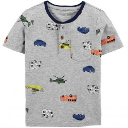 Toddler Boys Carters Vehicle Print Henley