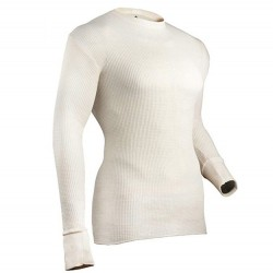 Mens 100% Cotton Heavy Weight Thermal Top #839LS - NATURAL
