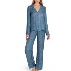 Jacquard Long Pajama Set in Denim
