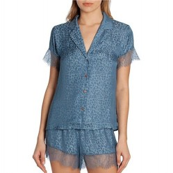 Jacquard Shortie Pajama Set in Denim