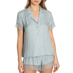 Jacquard Shortie Pajama Set in Mint