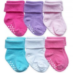 Infant Socks - 6 Pack Non-Skid in Brights