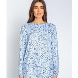 PJ Salvage Blue Leopard Long Sleeve Top