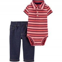 Infant Boy Carters 2 PC Striped Bodysuit and Pant Set