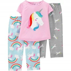 4 to 6X Girls Carters 3 PC Unicorn Pajama Set