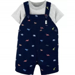 Infant Boy Carters 2 PC Dinosaur Overall Set