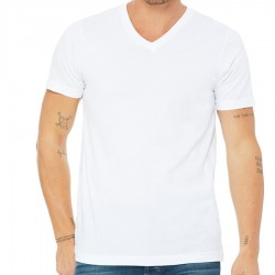 Canvas 100% Ringspun Cotton Short Sleeve VNeckT-shirt - WHITE