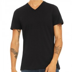 Canvas 100% Ringspun Cotton Short Sleeve VNeckT-shirt - BLACK