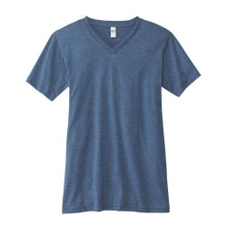 Canvas 100% Ringspun Cotton Short Sleeve VNeck T-shirt - HEATHER NAVY